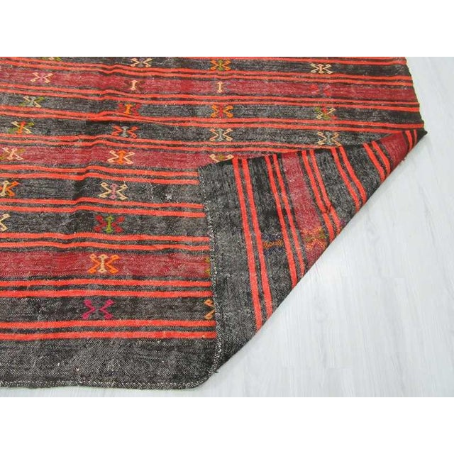 Vintage Striped Embroidered Turkish Kilim Rug - 7′10″ × 11′7″ For Sale In Los Angeles - Image 6 of 6
