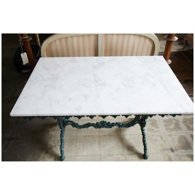 French French Cast Iron and Marble Table For Sale - Image 3 of 7