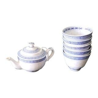 Chinese Floral Porcelain Translucent Rice Grain Tea Pot and Tea Cups Set - 6 Piece Set For Sale