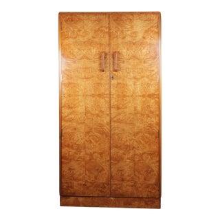 1930s Art Deco Gentleman's Wardrobe in Burr Maple For Sale