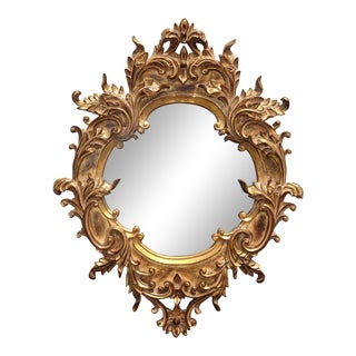 Vintage French Provincial Gold Rococo Wall Mantle Mirror For Sale