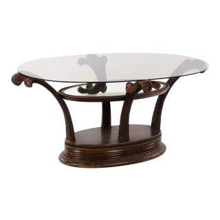1950s Traditional Carved Wood and Glass Cocktail Table For Sale
