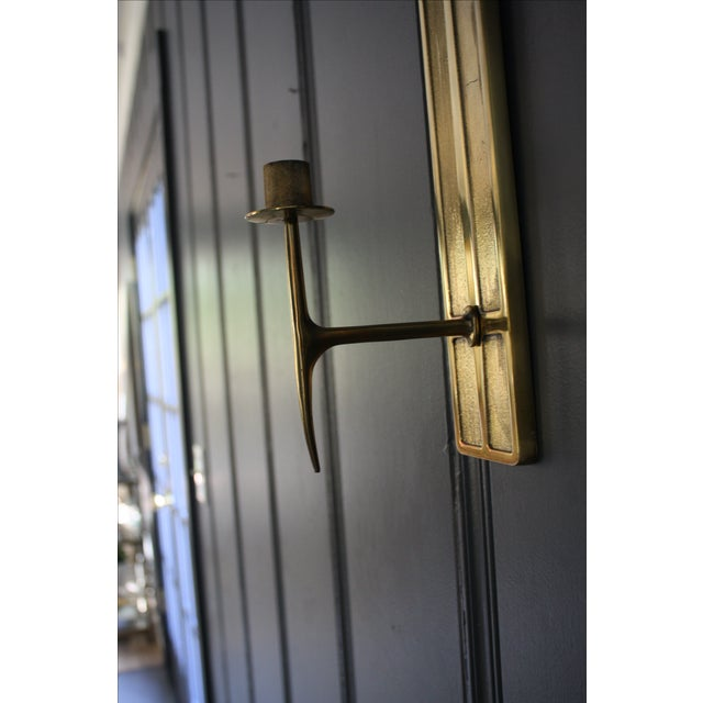 Mid-Century Modern Brass Candle Sconces - A Pair For Sale - Image 5 of 6