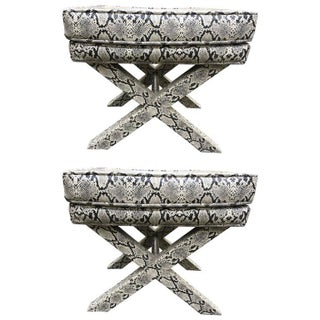 Hollywood Regency Faux Snakeskin X Benches - Pair