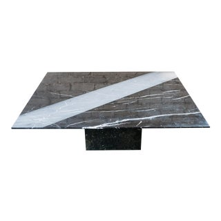 1990s Roche Bobois Marble Architectural Grooved Coffee Table For Sale