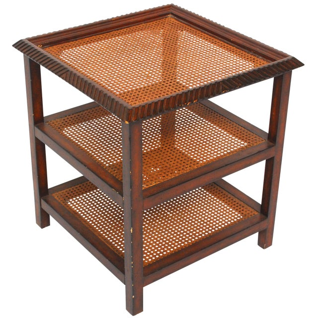 Three Tiered Caned Walnut Side Table - Image 1 of 6