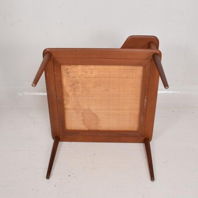 Mid-Century Modern France & Sons Peter Hvidt Corner Teak Cane Table Danish Modern Daverkosen For Sale - Image 3 of 9