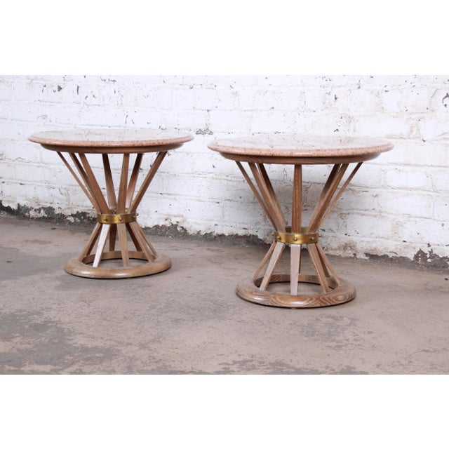 Dunbar Furniture Edward Wormey for Dunbar Style Sheaf of Wheat Marble Top Side Tables, Pair For Sale - Image 4 of 12