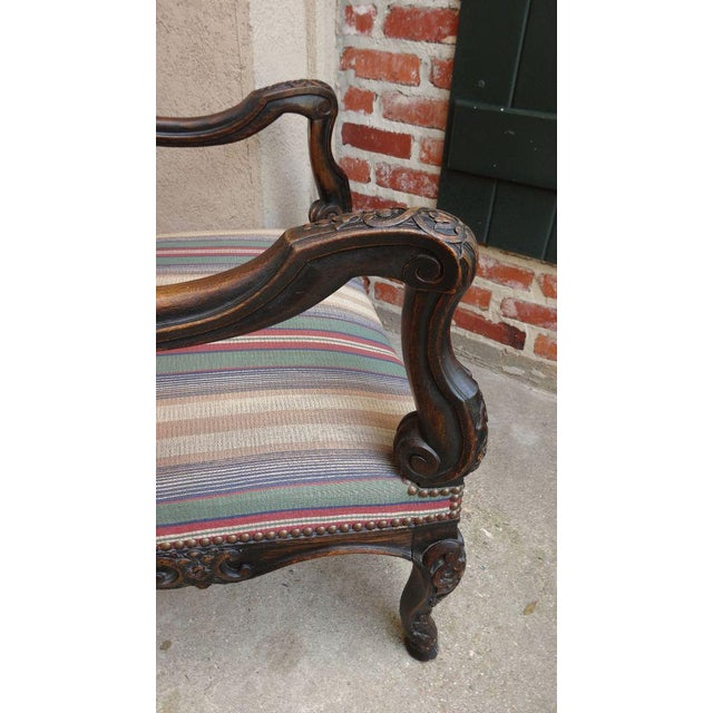Antique Louis XV French Carved Walnut Dining Arm Chair For Sale - Image 9 of 11