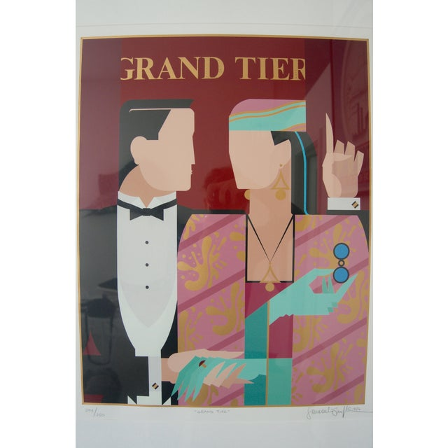 """Late 20th Century Art Deco Revival """"Grand Tier"""" Lithograph by Giancarlo Impiglia For Sale - Image 5 of 7"""