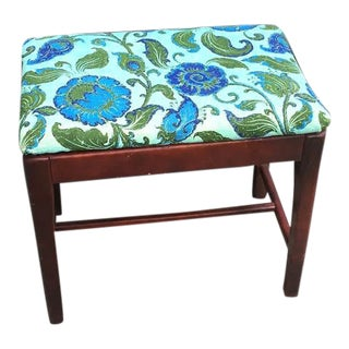 1940s Vintage Green & Blue Floral Upholstered Wooden Bench For Sale