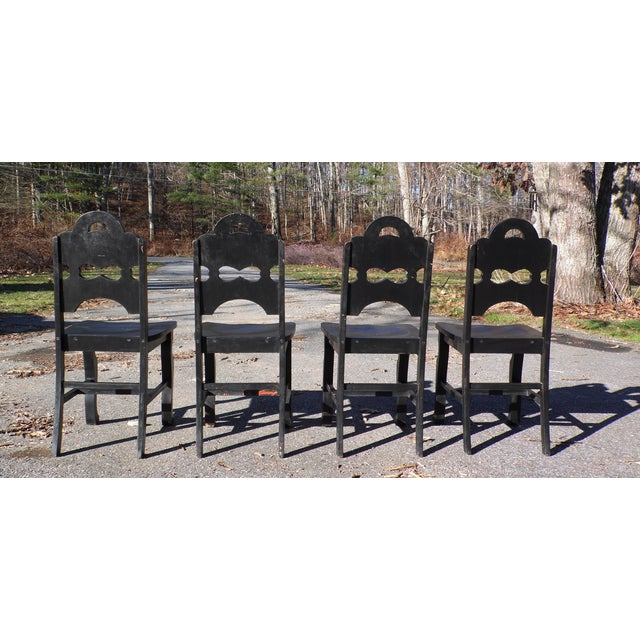 Black Vintage Set of 4 Art Deco Black Painted Amish Folk Art Style Dining Chairs For Sale - Image 8 of 12