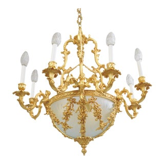 Italian Doré Bronze French Rococo Louis XV Style Figural Cherubs Gold Chandelier For Sale