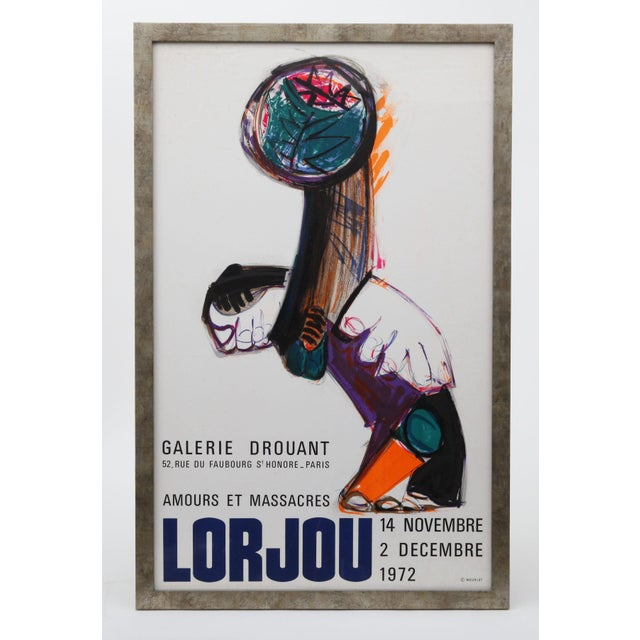 Vintage French gallery lithograph poster for the 1972 Lorjou exhibition. New silvered metallic wood frame.
