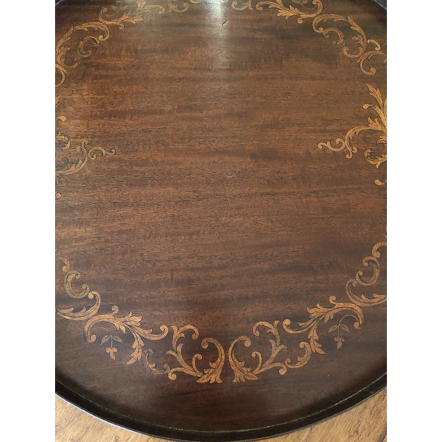 Traditional Inlay Wood Round Serving Tray For Sale - Image 3 of 8