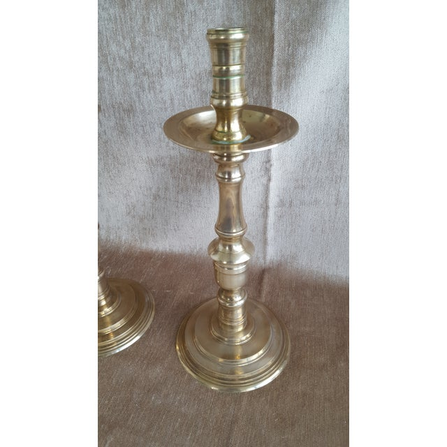 Vintage Brass Moroccan Indian Candle Holders - a Pair For Sale In Charlotte - Image 6 of 9