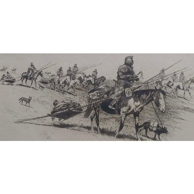 Illustration Edward Borein -Blackfoot Indian Moving Camp-1920s Original Etching For Sale - Image 3 of 10