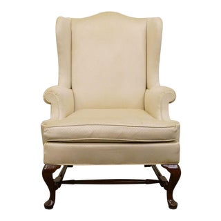 Hickory Chair Upholstered Mahogany Wing Back Chair For Sale