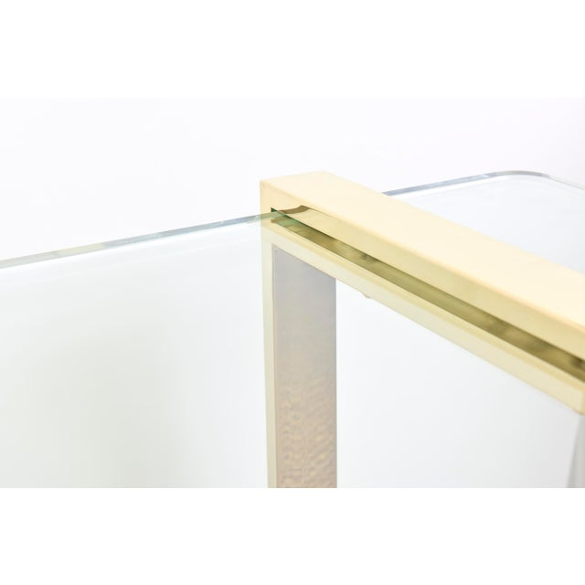 Gold 1980s Pace 24 Karat Gold Plated and Glass Rectangle Cocktail Table For Sale - Image 8 of 9