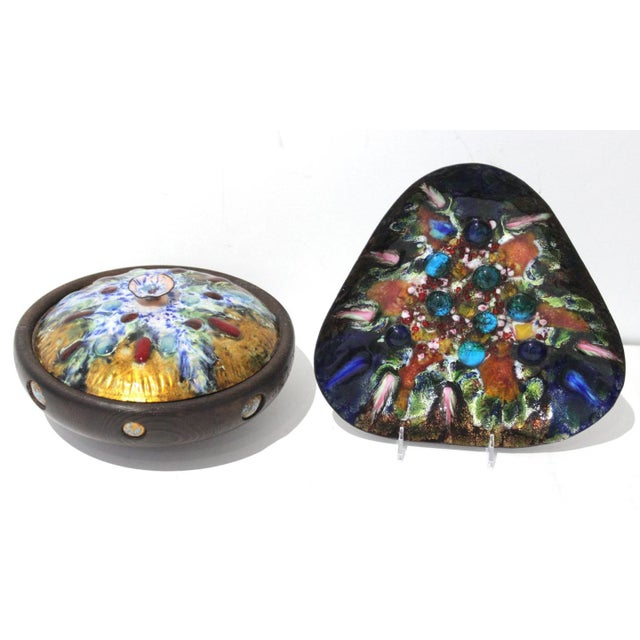 Mid-Century Artisan Copper Enamel on Wood Box and Dish by Esmaltes Capo - a Set of 2 For Sale - Image 10 of 10