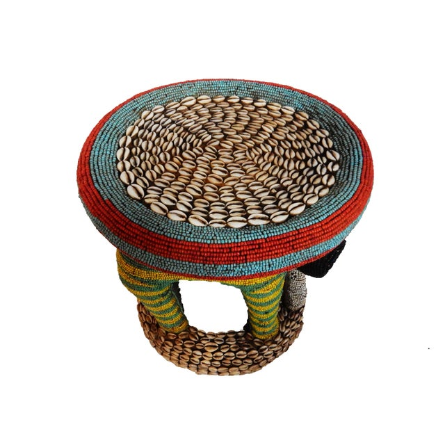 African Beaded Bamileke Elephant Stool - Image 8 of 10