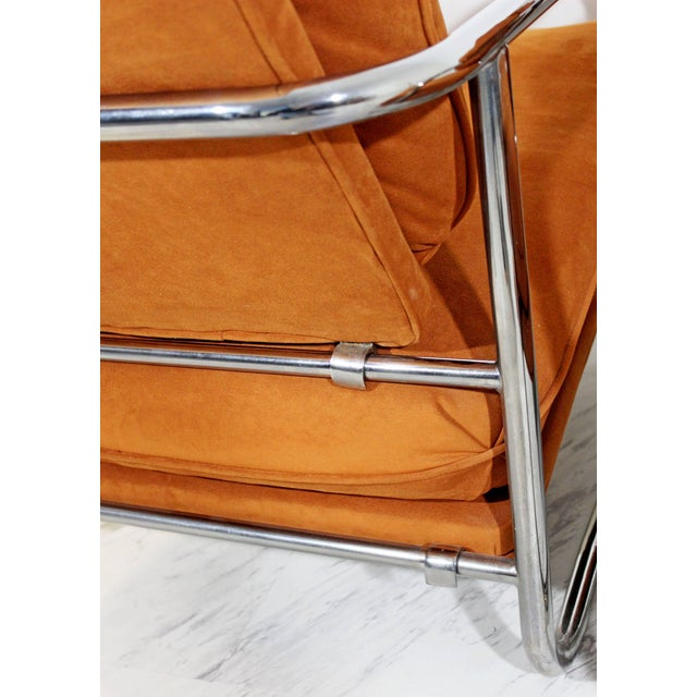 Chrome Mid-Century Modern Pair of Tubular Chrome Lounge Chairs and Ottoman For Sale - Image 7 of 11