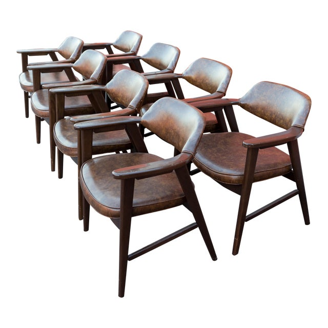 Mid Century Modern Paoli Walnut Armchairs - Set of 8 For Sale