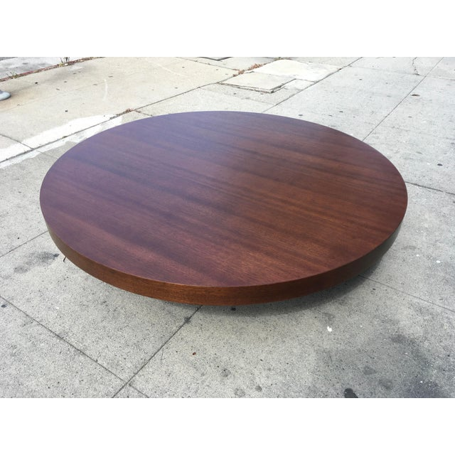 Wood 1950s Art Deco Architectural Round Mahogany Coffee Table For Sale - Image 7 of 11