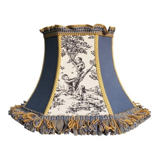 Toile Lampshade Blue Ticking Mustard Stripe Trim For Sale
