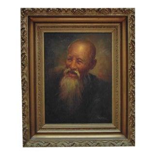 Vintage Confucius Portrait Oil Painting, Framed For Sale