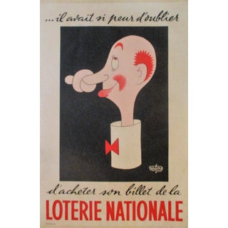 1950s Vintage Original Loterie Nationale French Lottery Poster by Hubour For Sale
