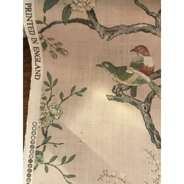 2010s Chinoiserie G P & J Baker Oriental Bird Signature Blush Linen Blend Fabric - 4 Yards For Sale - Image 5 of 8