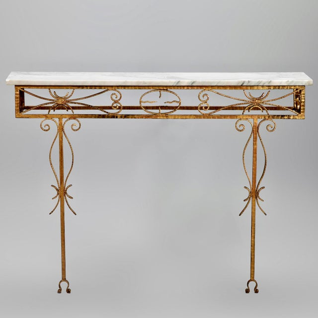 Spanish Wall Hung Console with Gilt Metal and Marble Top - Image 8 of 8