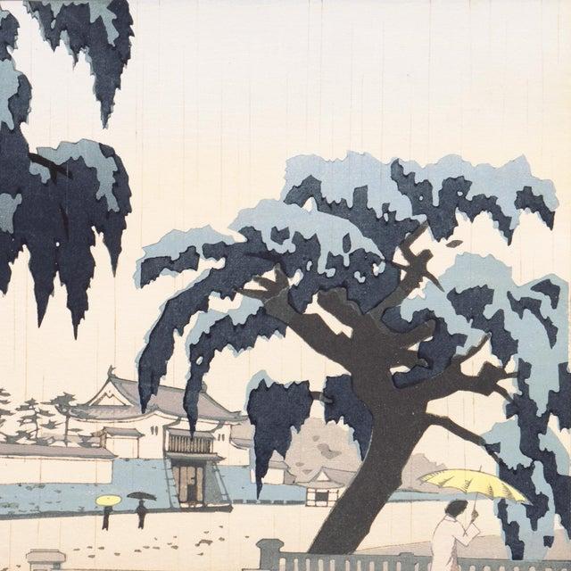 Asian Rain Over Nijo Castle, Kyoto, Japan by Ito Nisaburo, Circa 1955 For Sale - Image 3 of 11