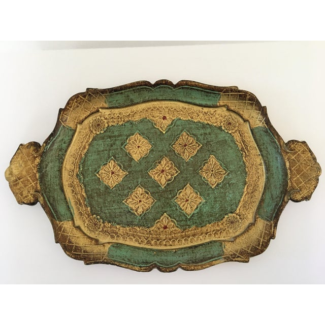 Mid-Century Gilt & Green Wooden Florentine Handled Tray - Italy For Sale - Image 10 of 10