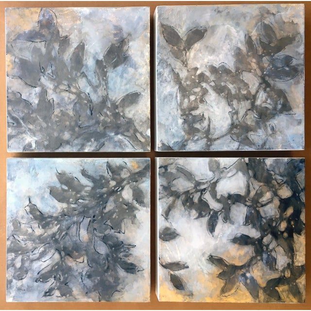 """Michelle Gagliano Michelle Gagliano """"Nebular Vines 9441"""" Botanical Oil Painting on Wood Panel For Sale - Image 4 of 8"""