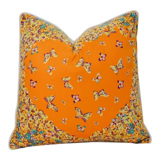 Orange Butterflies Silk Pillow For Sale