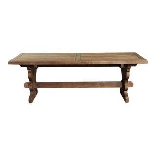 Rustic European Solid Oak Trestle Table For Sale