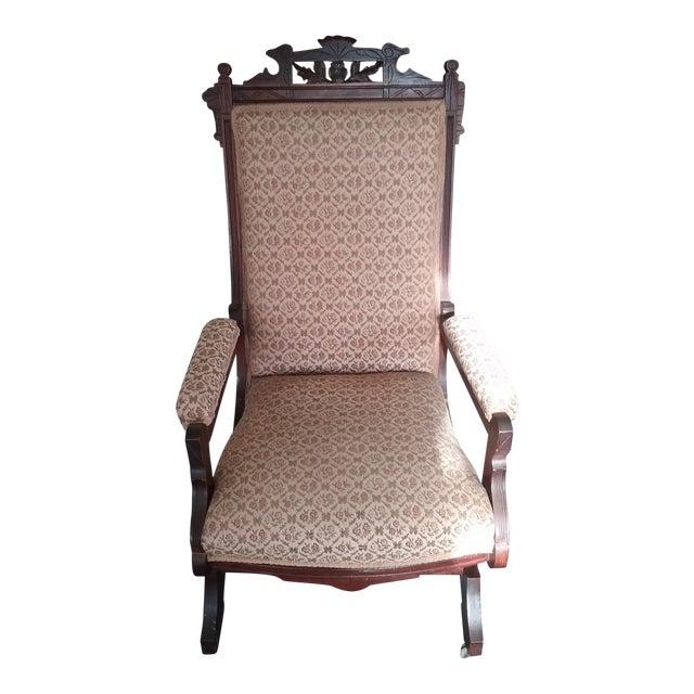 Eastlake Upholstered Victorian Wood Platform Rocking Chair For Sale
