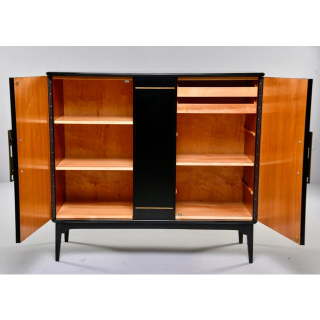 Mid-Century Modern Mid Century Swedish Ebonized Two-Door Cabinet With New Brass Hardware For Sale - Image 3 of 11