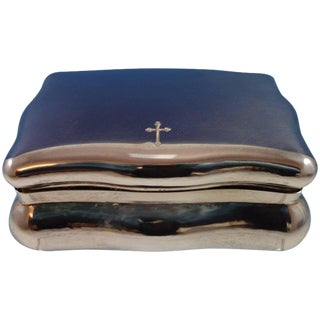 Buccellati Italian Sterling Silver Jewelry Box With Etched Cross (#2136) For Sale