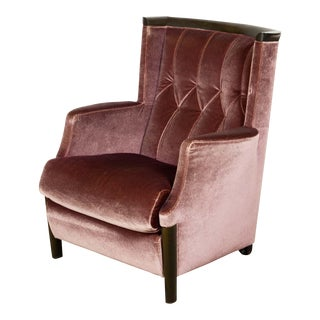 Mid-Century Italian Design Purple Velours Majestic Lounge Chair by Giorgetti, 1970s