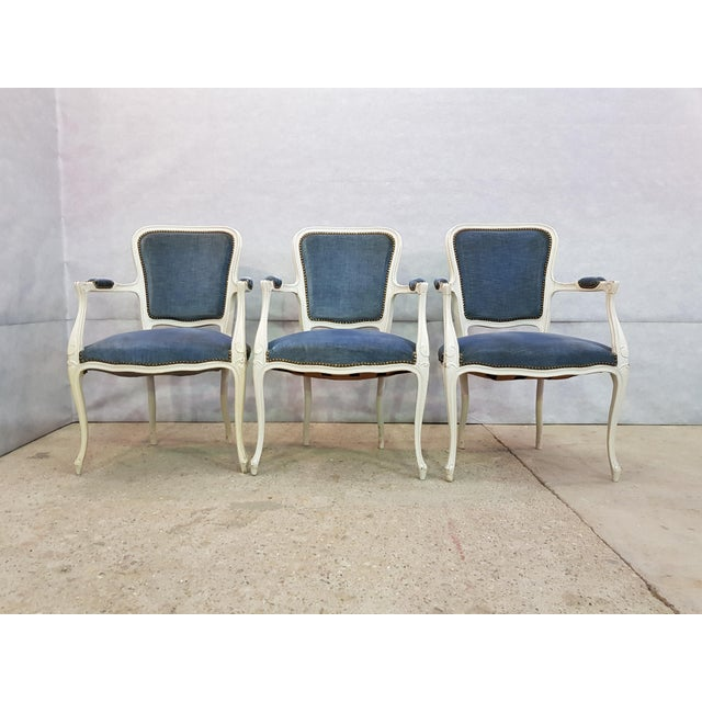 Set of 3 Large French Vintage Whitewashed Velvet Blue Upholstery Louis XV Armchairs For Sale In New York - Image 6 of 13