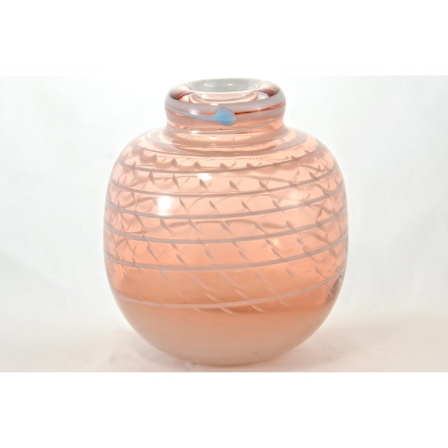 Pink Blown Art Glass Vase For Sale In Chicago - Image 6 of 6