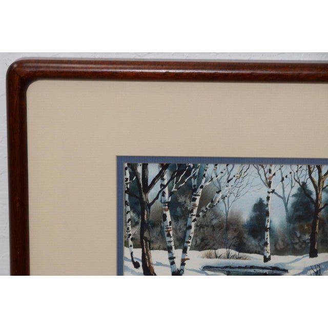 "Impressionism Diane Phalen ""Pennsylvania Winter Landscape"" Original Watercolor C.1987 For Sale - Image 3 of 9"
