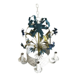 Tole Flower Basket Chandelier