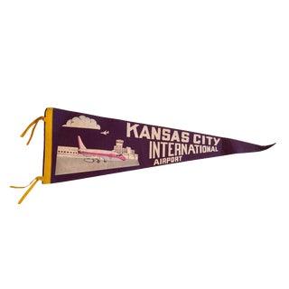 Vintage Kansas City International Airport Felt Flag