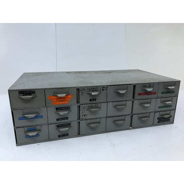 Vintage Industrial 18 Drawer Steel Parts Cabinet by Lyon For Sale - Image 13 of 13