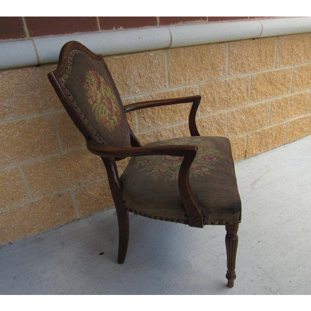 French French Louis XVI Shield Back Arm Side Chair With Needlepoint Tapestry For Sale - Image 3 of 7