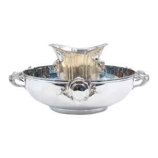 Large English Sheffield Silver Plated Champagne Cooler With Ice Bucket For Sale